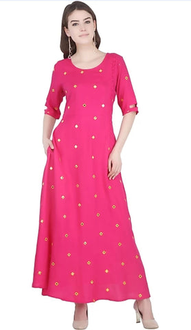 Pink color Rayon Stitched Gown - 1532548XFDR