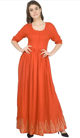 Orange color Rayon Stitched Gown - 1532550XFDR