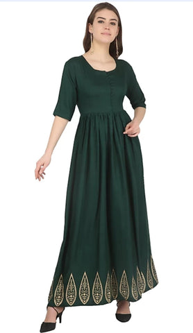 Hunter Green color Rayon Stitched Gown - 1532552XFDR