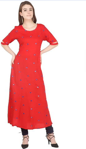 Red color Rayon Stitched Gown - 1532553XFDR