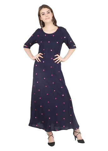 Navy Blue color Rayon Stitched Gown - 1532554XFDR