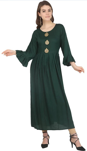Hunter Green color Rayon Stitched Gown - 1532556XFDR
