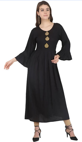 Black color Rayon Stitched Gown - 1532559XFDR