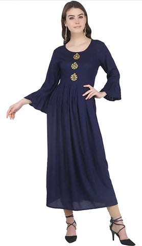 Navy Blue color Rayon Stitched Gown - 1532560XFDR