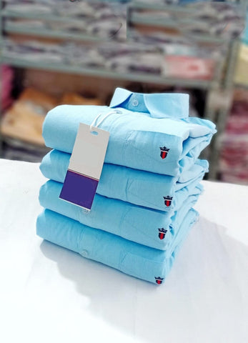Sky Blue Color Premium Stuff Cotton Men's Solid Shirt - 20190712-WA0025