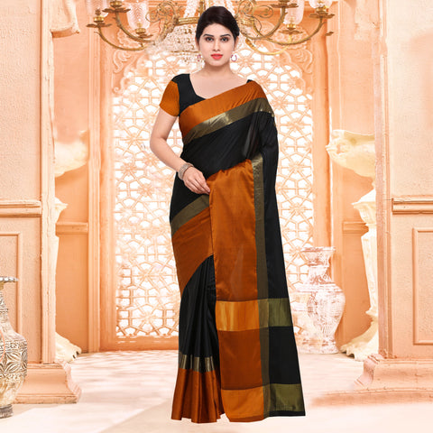 Black and Orange Color ArtSilk Saree - 2AURA2004