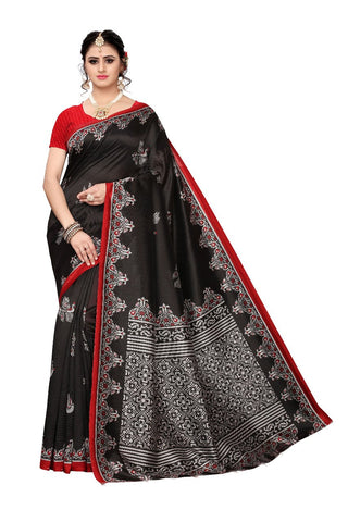 Black  colour Bhagalpuri Khadi Saree - 352-Black