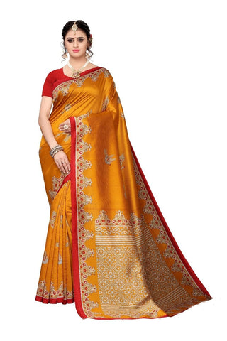 Yellow  colour Bhagalpuri Khadi Saree - 352-Yellow