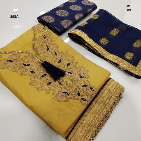 Gold Color Chanderi Cotton Embroidered Unstitched Salwar - 395A