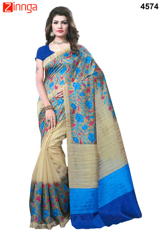 OffWhite and Blue Color Bhagalpuri Sarees - 4642