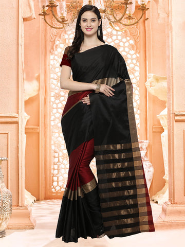 Black and Maroon Color Silk Cotton Saree - 4AURA4003