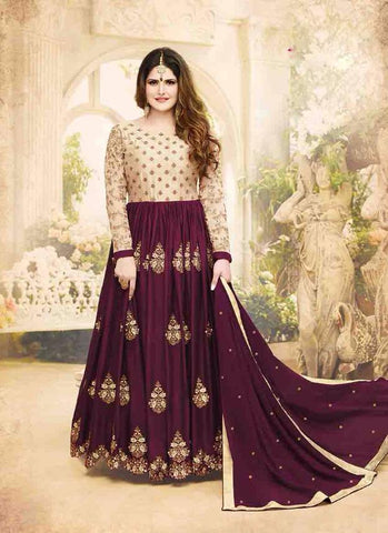 Maroon and Golden Color Georgette Un Stitched Salwar - 6287