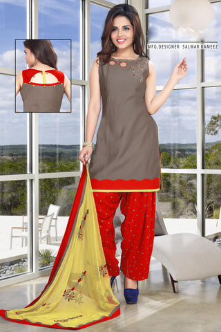 Ash color Nica Silk Un Stitched Salwar - 6423