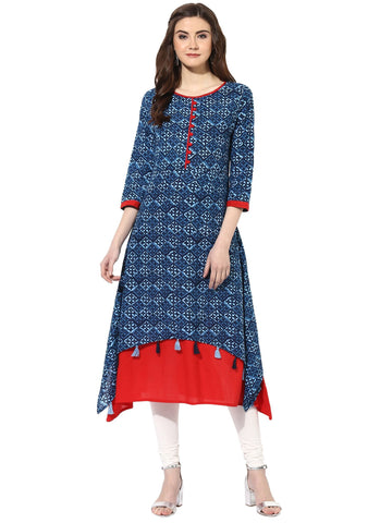 Blue Color Cotton Stitched Kurti - 9000498-BLUERED