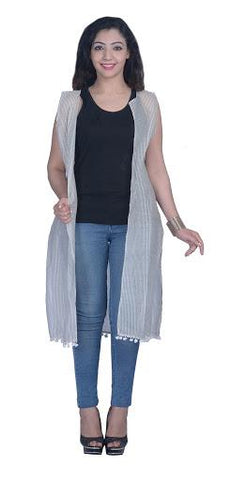 White Color Chanderi Stitched  Women Shrug - A-SH-01