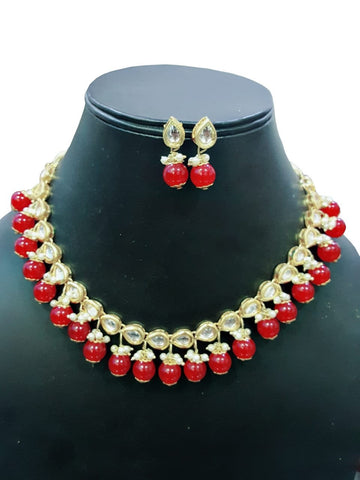 Red Color Kundan Necklace Set - A2350320KNM
