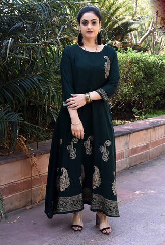 Bottle Green Color Rayon Handblock Printed Long Flared Stitched Kurti - A30-BOTTLE-GREEN