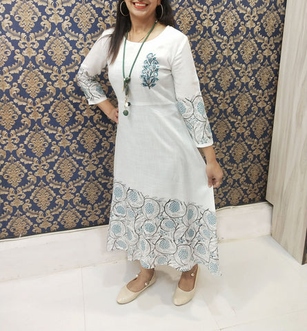 white Color Reyon Block print Long Gown - A66 white