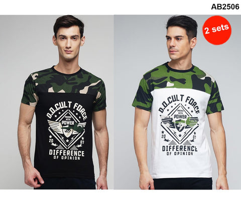 COMBOS-Black and White Color Cotton Men T-Shirts - MYNCR017002CAMO , MYNCR017002WT-CAM