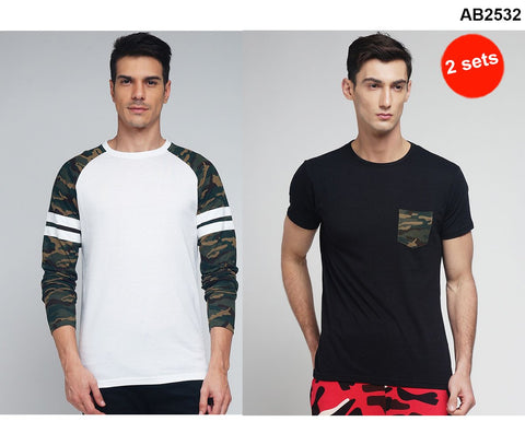 COMBOS-Black and White Color Cotton Men T-Shirts - MYNGPCR017046BLK , MYNRG017001WHT