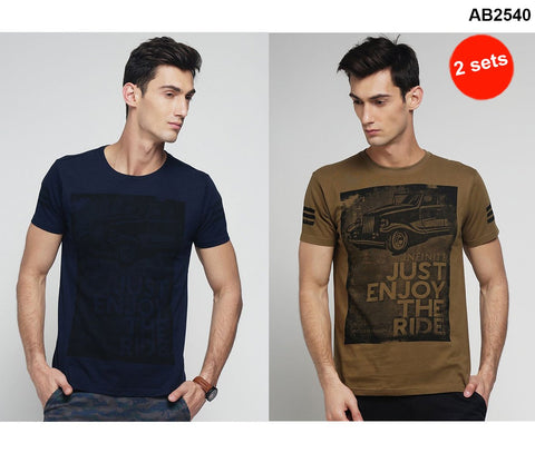COMBOS-Navy and Khaki Color Cotton Men T-Shirts - MYNGPCR017034NVY , MYNGPCR017034KHI