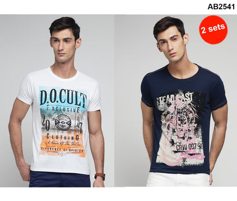 COMBOS-Navy and White Color Cotton Men T-Shirts - MYNGPCR017033NVY , MYNGPCR017032WHT