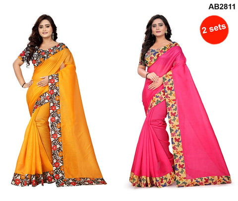 COMBOS- Bhagalpuri Sarees - Butterfly-Pink , Flower-Yellow
