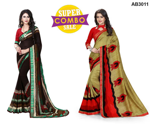 COMBOS-Georgette and Silk Sarees - ON-109 , ON-113