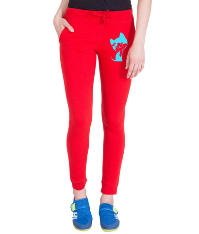 AMERICAN ELM-Red  Color Cotton Track Pant  - AE-PWL-214