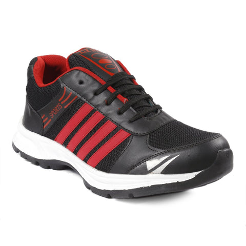 Black and Red Color Mesh Sports Shoes - AGW-23004