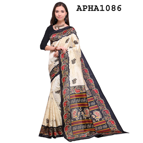 Black and Cream Color Art Silk Saree - APHA1086