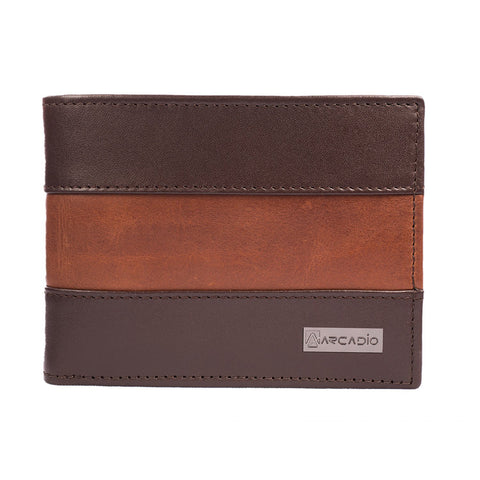 Brown  Color Pure Leather Men's Wallet - ARW1004BR