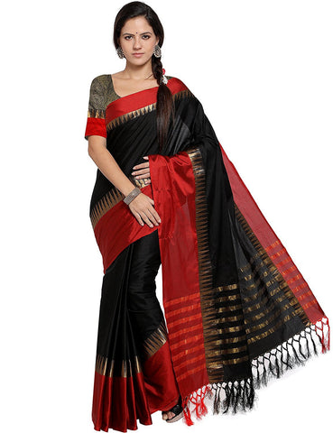 Black and Red Color Cotton Silk Saree  - AT-BLACK-RED