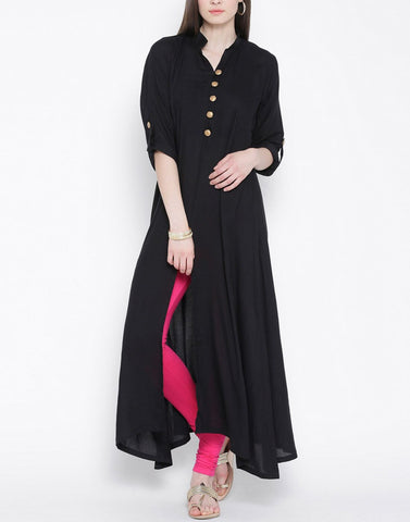 Black Color Rayon Stitched Kurti - ATKSS17Q2KU07