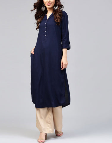 Blue Color Rayon Stitched Kurti - ATKSS17Q2KU24