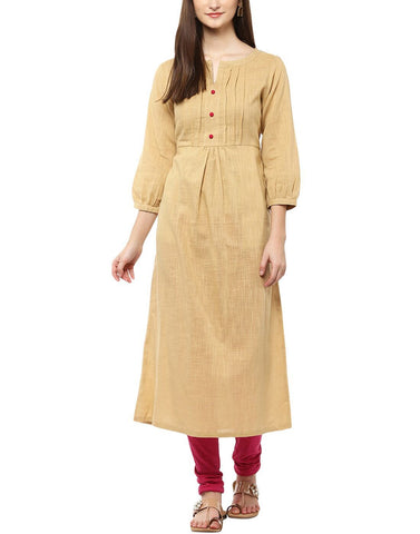 Beige Color Cotton Stitched Kurti - ATKSS17Q2KU32