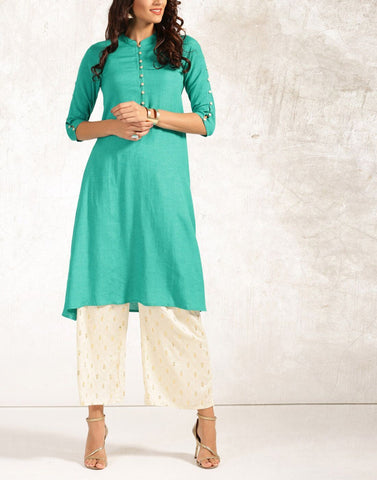 Blue Color Cotton Stitched Kurti - ATKSS17Q2KU33