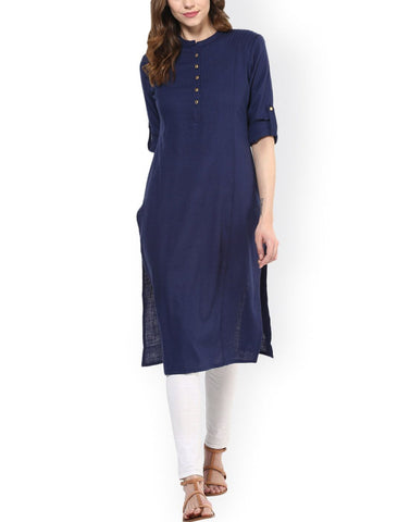 Blue Color Cotton Stitched Kurti - ATKSS17Q2KU38