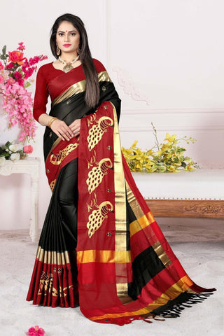 Black and Red Color Cotton Silk Saree - AURAMORBLACKRED