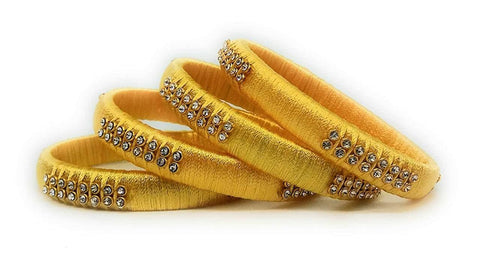 Yellow Color Silk Thread Bangles - Aarohi-102
