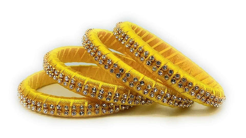 Yellow Color Silk Thread Bangles - Aarohi-112