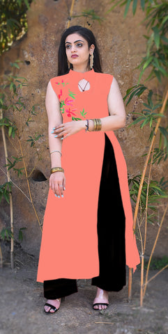 peach Color Reyon Embroidery Work Kurti - Af42-peach