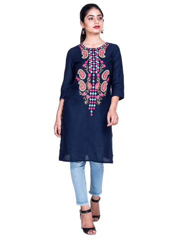Blue Color Reyon Embroidery Work Kurti - Af51-Blue