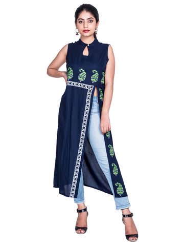 BLUE Color Reyon Block print Kurti - Af61 BLUE