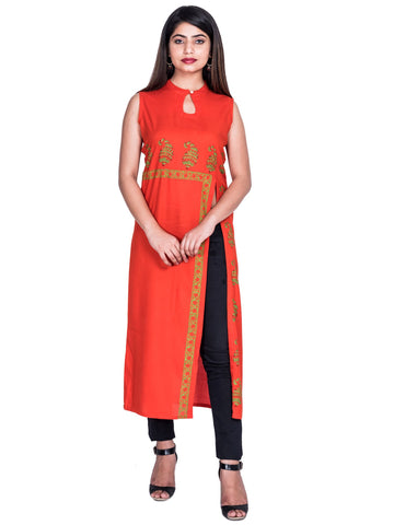 ORANGE Color Reyon Block print Kurti - Af61 ORANGE