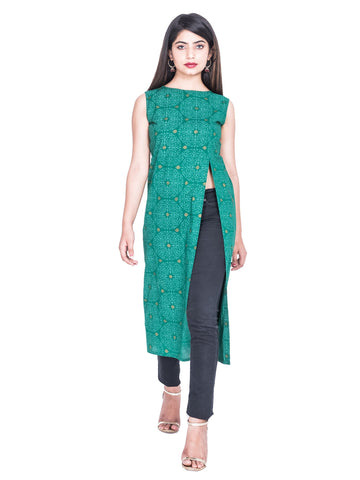 Green Color Cotton Hand Block Print Kurti - Af70 GREEN
