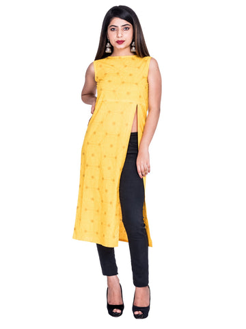 Musturd Color Cotton Hand Block Print Kurti - Af70 MUSTURD