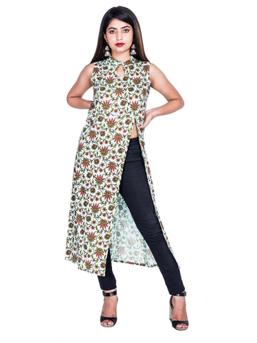 Multi Color Reyon Printed Kurti - Af71 MULTI