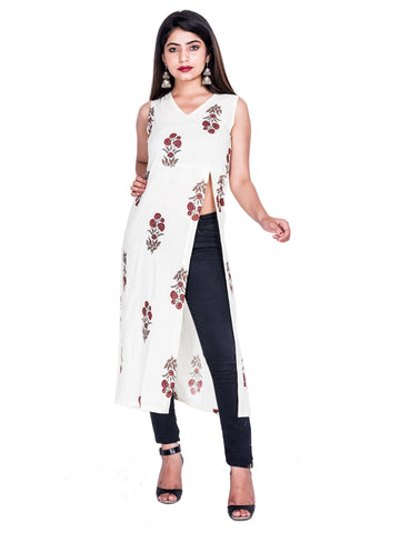 Multi Color Reyon Printed Kurti - Af72 MULTI