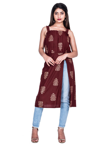 Brown Color Cotton Hand Block Print Kurti - Af74 Brown